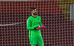 LIVERPOOL, ENGLAND - Sunday, December 27, 2020: Liverpool's goalkeeper Alisson Becker looks dejected as West Bromwich Albion score an equalising goal during the FA Premier League match between Liverpool FC and West Bromwich Albion FC at Anfield. The game ended in a 1-1 draw. (Pic by David Rawcliffe/Propaganda)