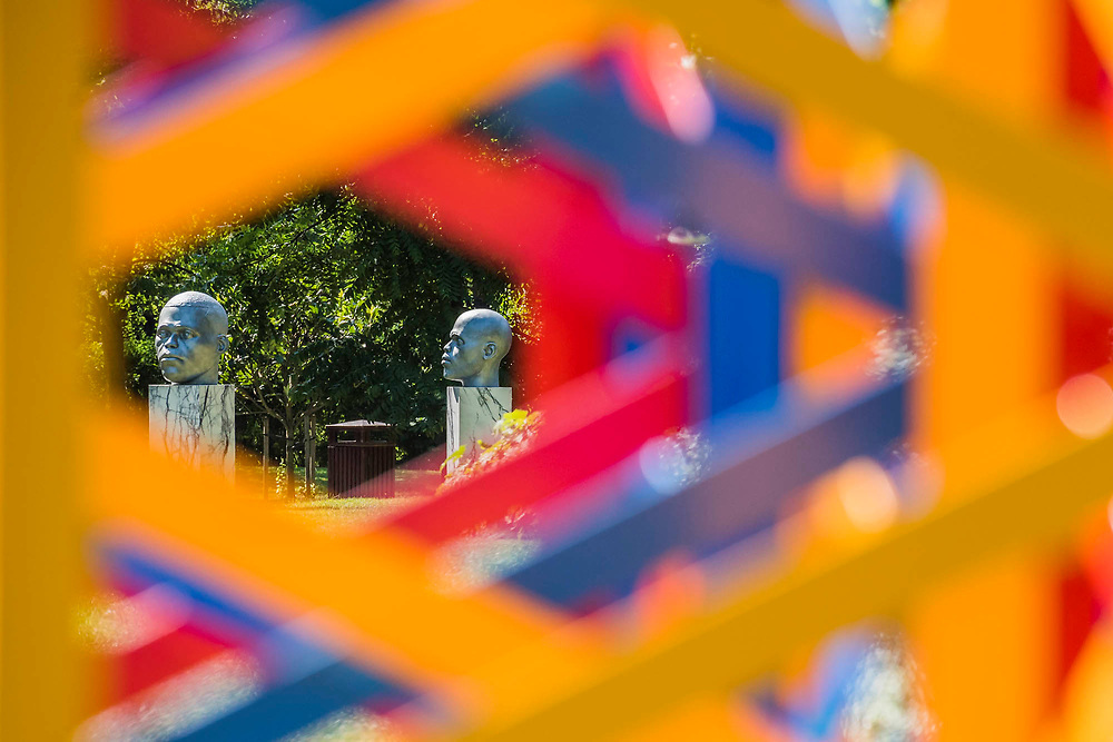 Thomas J Price,<br /> Numen (Shifting Votive One, Two and Three)(2016) through Rasheed Araeen, Summertime - The Regents Park(2017) - The Frieze Sculpture Park 2017 comprises large-scale works, set in the English Gardens . The installations will remain on view until 8 Oct 2017.