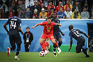 Eden Hazard of Belgium vies with Blaise Matuidi, Paul Pogba and N'Golo Kante of France during the 2018 FIFA World Cup Russia, Semi Final football match between France and Belgium on July 10, 2018 at Saint Petersburg Stadium in Saint Petersburg, Russia - Photo Thiago Bernardes / FramePhoto / ProSportsImages / DPPI