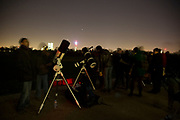 Baker Street Irregular Astronomers meeting for an evening of stargazing in Regents Park in Central London, UK. This is an amateur astronomy society whose members gather with their telescopes to view the stars once a month.