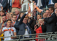 Football - 2017 Sky Bet [EFL] League Two Play-Off Final - Blackpool vs. Exeter City<br /> <br /> Blackpool Manager Gary Bowyer  lifts the League 2 Play off trophy at Wembley.<br /> <br /> COLORSPORT/DANIEL BEARHAM