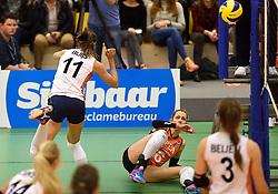 29-12-2015 NED: Nederland - Belgie, Almelo<br /> Op het 25 jaar Topvolleybal Almelo spelen Nederland en Belgie een oefen interland ter voorbereiding op het OKT dat maandag in Ankara begint / Anne Buijs #11, Debby Stam-Pilon #16