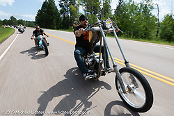 Cycle Showcase's Randall Noldge of St. Louis riding his Titty Twister Shovelhead on the Cycle Source ride down Vanocker Canyon back from Nemo to the Iron Horst Saloon during the Sturgis Black Hills Motorcycle Rally. SD, USA. Wednesday, August 7, 2019. Photography ©2019 Michael Lichter.
