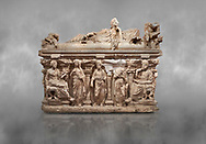 """Roman relief sculpted sarcophagus of Domitias Julianus and Domita Philiska depicted reclining on the lid, 2nd century AD, Perge. Antalya Archaeology Museum, Turkey.<br /> <br /> it is from the group of tombs classified as. """"Columned Sarcophagi of Asia Minor"""". <br /> The lid of the sarcophagus is sculpted into the form of a """"Kline"""" style Roman couch on which lie Julianus &  Philiska. This type of Sarcophagus is also known as a Sydemara Type of Tomb. ..<br /> <br /> If you prefer to buy from our ALAMY STOCK LIBRARY page at https://www.alamy.com/portfolio/paul-williams-funkystock/greco-roman-sculptures.html . Type -    Antalya    - into LOWER SEARCH WITHIN GALLERY box - Refine search by adding a subject, place, background colour, etc.<br /> <br /> Visit our ROMAN WORLD PHOTO COLLECTIONS for more photos to download or buy as wall art prints https://funkystock.photoshelter.com/gallery-collection/The-Romans-Art-Artefacts-Antiquities-Historic-Sites-Pictures-Images/C0000r2uLJJo9_s0"""