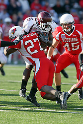 18 October 2008: Jermaine Malcolm shoulders in on Brandon Oliver in a game which the Missouri State Bears came from behind to beat the Illinois State Redbirds 34-28 in front of 13,292 fans at Hancock Stadium on Illinois State Universities campus in Normal Illinois