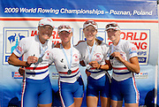 Poznan, POLAND,  silver medalist , GBR LW4X, right to left, Steph CULLEN, Laura GREENHALGH, Andrea DENNIS and Jane HALL with the silver medals,  lightweight women's quadruple scull at the 2009 FISA World Rowing Championships. held on the Malta Rowing lake, Sunday  30/08/2009  [Mandatory Credit. Peter Spurrier/Intersport Images]