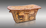 Minoan  pottery bath tub  larnax decorated with a cow nursing a calf,  Episkopi-Lerapetra 1350-1250 BC, Heraklion Archaeological  Museum, grey background.<br /> <br /> To the Greeks, the Underworld was entered by water. As with many other Minoan bathtubs, this one was probably later used as a coffin to convey the deceased across the sea, where marine imagery would be equally appropriate. The two functions of bathtubs, bathing and burial, combine in the story of Agamemnon who, on return from Troy, was murdered by his wife and her lover in a silver bath. .<br /> <br /> If you prefer to buy from our ALAMY PHOTO LIBRARY  Collection visit : https://www.alamy.com/portfolio/paul-williams-funkystock/minoan-art-artefacts.html . Type -   Heraklion   - into the LOWER SEARCH WITHIN GALLERY box. Refine search by adding background colour, place, museum etc<br /> <br /> Visit our MINOAN ART PHOTO COLLECTIONS for more photos to download  as wall art prints https://funkystock.photoshelter.com/gallery-collection/Ancient-Minoans-Art-Artefacts-Antiquities-Historic-Places-Pictures-Images-of/C0000ricT2SU_M9w