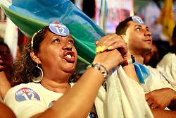 Militância durante o comício da vitória, no Largo Glênio Perez, em Porto Alegre. FOTO: Jefferson Bernardes/Preview.com