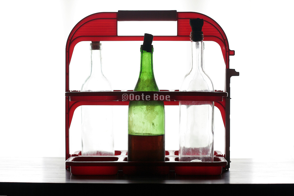 bottle carry rack with various wine bottles
