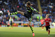 Stoke city's Peter Crouch in action. Barclays Premier league match, Cardiff city  v Stoke city at the Cardiff city stadium in Cardiff, South Wales on Saturday 19th April 2014. pic by Andrew Orchard, Andrew Orchard sports photography,