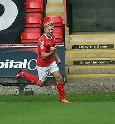 Crewe's Ajay Leitch-Smith celebrates after doubling the lead  - Photo mandatory by-line: Joe Dent/JMP - Tel: Mobile: 07966 386802 07/09/2013 - SPORT - FOOTBALL -  Alexandra Stadium - Crewe - Crewe Alexandra V Peterborough United - Sky Bet League One
