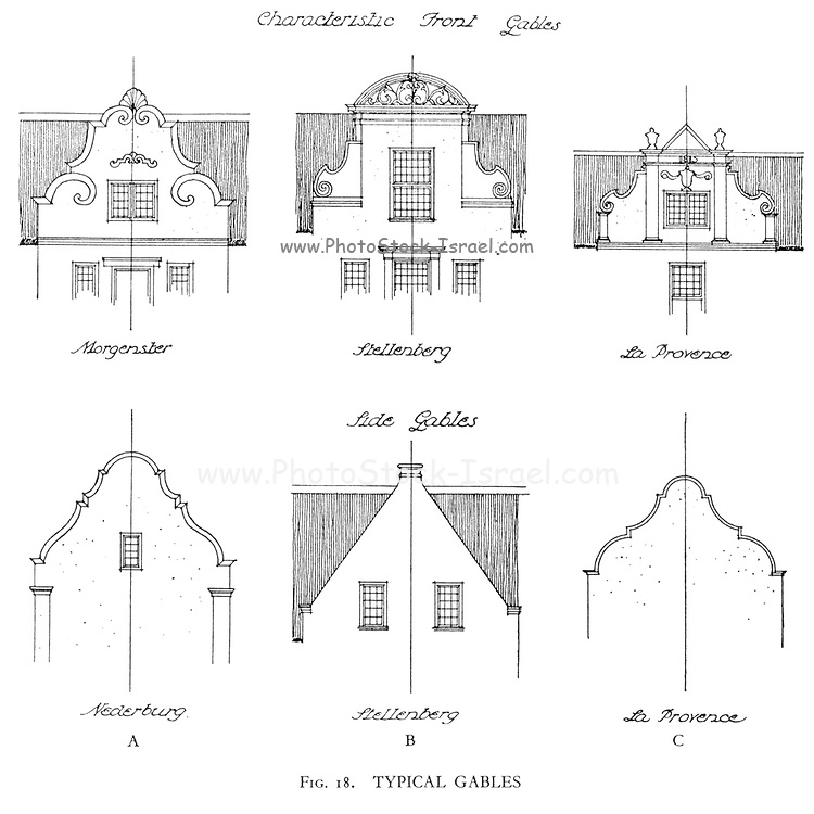 From the book ' Eighteenth century architecture in South Africa ' by Geoffrey Eastcott Pearse. Published by A.A. Balkema, Cape Town in 1933 G. E. Pearse was among the first to bring Cape architecture to a wide audience in a scholarly way. Eighteenth Century Architecture in South Africa was the result of many years research on the topic and remains an important reference work for the subject.