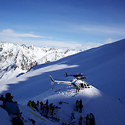 Helicopters transport athletes during the World Heli Challenge Extreme Day at Mount Albert on Minaret Station, Wanaka, New Zealand. 1st August 2011