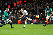 Tottenham Hotspur forward Harry Kane (10) has a shot on goal during the Premier League match between Tottenham Hotspur and West Bromwich Albion at Wembley Stadium, London, England on 25 November 2017. Photo by Andy Walter.