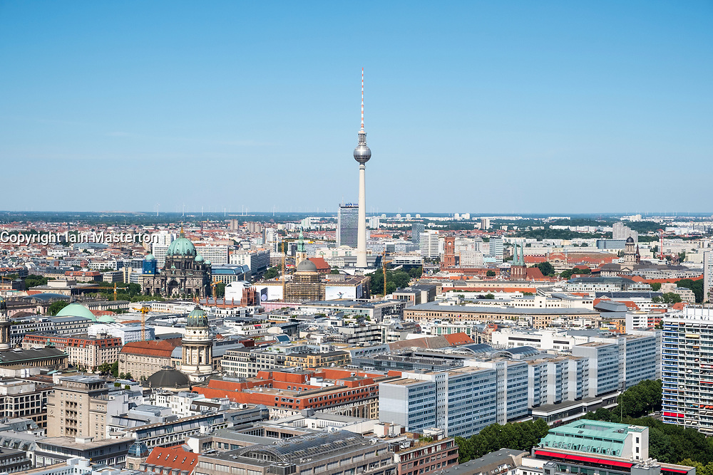 Skyline of Berlin looking towards the TV Tower of Fernsehturm, Mitte, Berlin, Germany