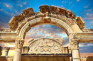 The Temple of Emperor Hadrian on Curetes Street ( 117 - 138 A.D ).  Ephesus Archaeological Site, Anatolia, Turkey. .<br /> <br /> If you prefer to buy from our ALAMY PHOTO LIBRARY  Collection visit : https://www.alamy.com/portfolio/paul-williams-funkystock/ephesus-celsus-library-turkey.html<br /> <br /> Visit our TURKEY PHOTO COLLECTIONS for more photos to download or buy as wall art prints https://funkystock.photoshelter.com/gallery-collection/3f-Pictures-of-Turkey-Turkey-Photos-Images-Fotos/C0000U.hJWkZxAbg