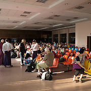 NYAUNG-U, Myanmar - The rudimentary departure lounge of Nyaung-U Aiport, Myanmar. Nyaung-U is the main transportation gateway to the famous Bagan Archaeological Zone, which is nearby.
