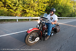 Carl Olsen heads back to the hotel after the hosted dinner at Appleton Harley-Davidson in Clarksville, Tennessee during Stage 4 of the Motorcycle Cannonball Cross-Country Endurance Run, which on this day ran from Chatanooga to Clarksville, TN., USA. Monday, September 8, 2014.  Photography ©2014 Michael Lichter.