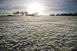 © Licensed to London News Pictures. 03/01/2017. Epsom, UK.frost covers Epsom Downs at dawn. Parts of the UK are experiencing temperatures as low as -5 degrees centigrade. Photo credit: Peter Macdiarmid/LNP
