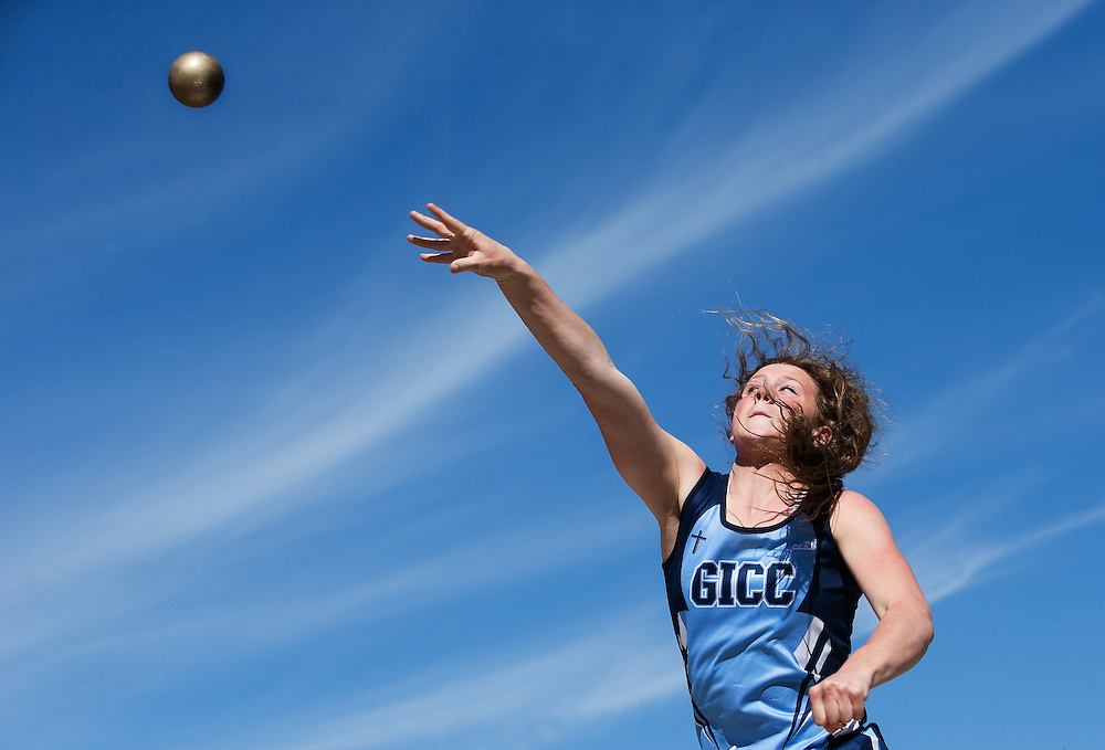 Grand Island Central Catholic's Emma Benton competes in the shot put during Friday's invitational at Adams Central High School in Hastings. (Independent/Matt Dixon)