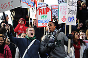 National student demonstration in London, protesting against tuition fees and the threat of top-up fees. Students from all over the UK gathered in central London for a second mass demo in protest of the coalition govenrnment's plans for education funding. Centred around Whitehall the protest was partly peaceful but also marred by arrests and some violence.