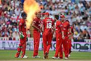 Lancashire Celebrate during the NatWest T20 Blast Semi Final match between Hampshire County Cricket Club and Lancashire County Cricket Club at Edgbaston, Birmingham, United Kingdom on 29 August 2015. Photo by David Vokes.