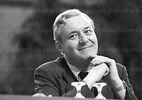 Labour politician Anthony Wedgewood Benn seen at the Labour Party Conference in October 1979. Photographed by Jayne Fincher