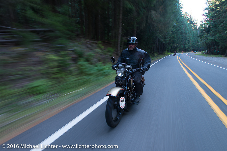 """Robert Gustavsson or """"Big Swede"""" as he is fondly known, riding his 1931 Harley-Davidson VL during Stage 16 (142 miles) of the Motorcycle Cannonball Cross-Country Endurance Run, which on this day ran from Yakima to Tacoma, WA, USA. Sunday, September 21, 2014.  Photography ©2014 Michael Lichter."""