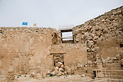 Israel, West Bank, Judaea, Herodion a castle fortress built by King Herod 20 B.C.E. Remains of the castle. Main Entrance