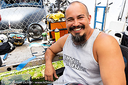 Rene Chavez of Primo Helmet Design at the Vendor area of the Born-Free Vintage Motorcycle show at Oak Canyon Ranch, Silverado, CA, USA. Sunday, June 23, 2019. Photography ©2019 Michael Lichter.