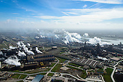 Nederland, Noord-Holland, IJmuiden , 09-04-2014; IJmuiden Steel Works van Tata Steel. Oxystaalfabriek en walserijen. Hoogovens rechts.<br /> IJmuiden Steel Works, part of Tata Steel. <br /> luchtfoto (toeslag op standard tarieven);<br /> aerial photo (additional fee required);<br /> copyright foto/photo Siebe Swart