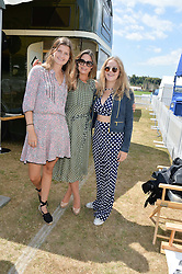 Left to right, LOUISA WENTWORTH-STANLEY , ADELAIDE BOLITHO and ELLA STOPFORD-SACKVILLE at the Jaeger-LeCoultre Gold Cup Polo Final held at Cowdray Park Polo Club, Midhurst, West Sussex on 19th July 2015