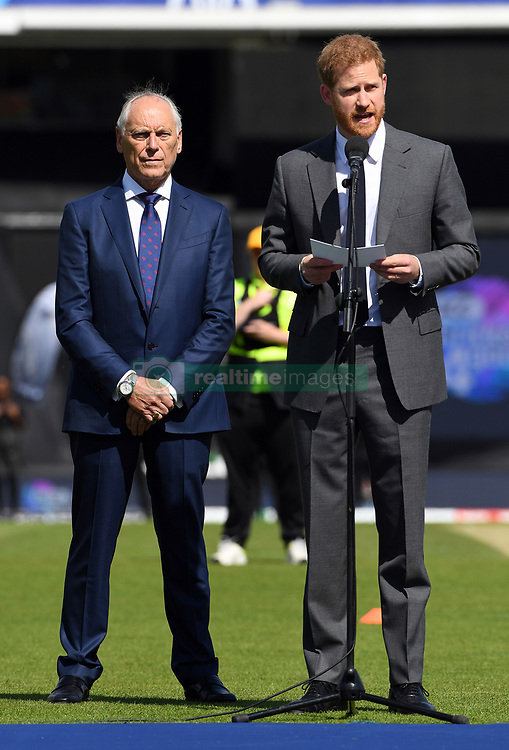 The Duke of Sussex speaks as Colin Graves, the chairman of the ECB looks on ahead of the opening match of the 2019 ICC Cricket World Cup between England and South Africa at The Oval in London.