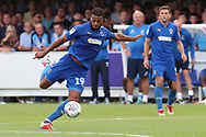 AFC Wimbledon midfielder Tom Soares (19) with a volly during the EFL Sky Bet League 1 match between AFC Wimbledon and Coventry City at the Cherry Red Records Stadium, Kingston, England on 11 August 2018.