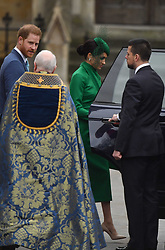 The Duke and Duchess of Sussex leaving after attending the Commonwealth Service at Westminster Abbey, London, on Commonwealth Day. The service is the Duke and Duchess of Sussex's final official engagement before they quit royal life.