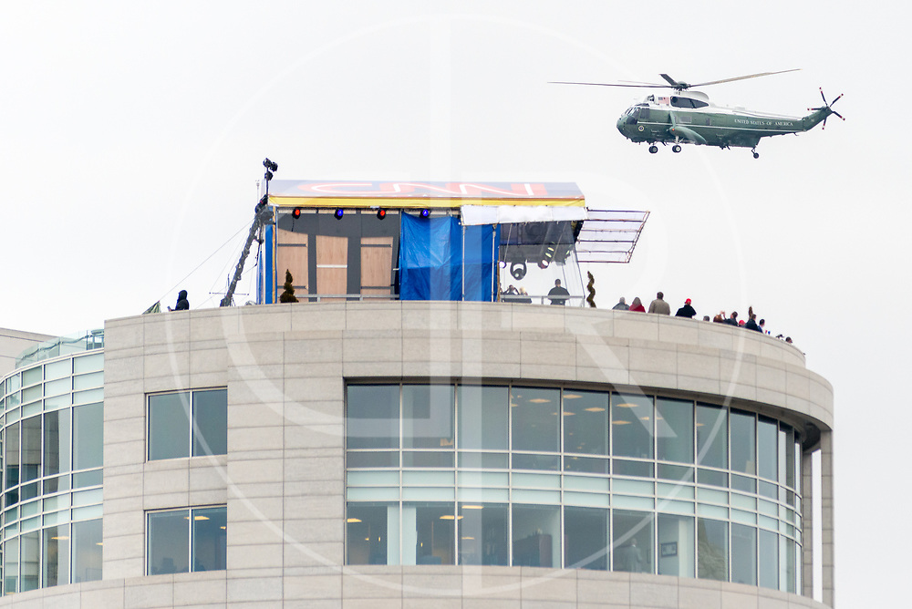 Washington DC, United States - Marine One, carrying the outgoing POTUS Barack Obama, passes by CNN's makeshift studio following the conclusion of the 2017 inauguration ceremony for Donald J. Trump.