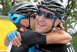 07.07.2011, AUT, 63. OESTERREICH RUNDFAHRT, 5. ETAPPE, ST. JOHANN-SCHLADMING, im Bild der Etappensieger Ian Stannard, (GBR, Sky Procycling) mit seinem Teamkollegen Kurt Asle Arvesen, (NOR, Sky Procycling) // during the 63rd Tour of Austria, Stage 5, 2011/07/07, EXPA Pictures © 2011, PhotoCredit: EXPA/ S. Zangrando