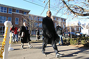 CHARLOTTESVILLE, VA - FEBRUARY 12: Commonwealth attorneys Dave Chapman, left, and Claude V. Worrell, II, right, walk to the Charlottesville Circuit courthouse for the George Huguely trial. Huguely was charged in the May 2010 death of his girlfriend Yeardley Love. She was a member of the Virginia women's lacrosse team. Huguely pleaded not guilty to first-degree murder. (Credit Image: © Andrew Shurtleff