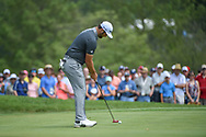 Jon Rahm (ESP) watches his putt on  1 during 1st round of the 100th PGA Championship at Bellerive Country Club, St. Louis, Missouri. 8/9/2018.<br /> Picture: Golffile | Ken Murray<br /> <br /> All photo usage must carry mandatory copyright credit (© Golffile | Ken Murray)