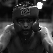 La Habra boxer is exhausted after a 3 minute sparring match at the La Habra Boxing Club on Thursday November 3 2016