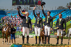 Gold Medal, Team France, Bost Roger Yves, Leprevost Peneloppe, Staut Kevin, Rozier Philippe, FRA<br /> Olympic Games Rio 2016<br /> © Hippo Foto - Dirk Caremans<br /> 17/08/16