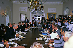 United States President George H.W. Bush meets with bipartisan, bicameral Congressional budget negotiators in the Cabinet Room of the White House in Washington, D.C. on May 15, 1990. Photo by Ron Sachs / CNP /ABACAPRESS.COM