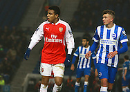 Arsenal striker Donyell Malen is marked by Brighton defender Ben Barclay during the Barclays U21 Premier League match between Brighton U21 and Arsenal U21 at the American Express Community Stadium, Brighton and Hove, England on 30 November 2015. Photo by Bennett Dean.