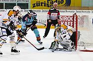 05.03.2011, Rapperswil-Jona, Eishockey NLA, Rapperswil-Jona Lakers - HC Lugano, Niklas Nordgren (m, LAK) gegen Torhueter Sebastien Caron (LUG)  (Thomas Oswald/hockeypics)
