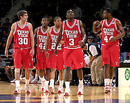 Texas Tech's Michael Prince (30), Charlie Burgess (42), Jarrius Jackson (22), Martin Zeno (3) and Darryl Dora (44) enter the court after a time out, in a game against Kansas State at Bramlage Coliseum in Manhattan, Kansas, January 8, 2007.  Texas Tech defeated K-State 62-52.