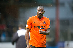 Dundee United's Guy Demel gives the Utd fans a thumbs up at the end of the first half. <br /> Dundee 2 v 1  Dundee United, SPFL Ladbrokes Premiership game played 2/1/2016 at Dens Park.