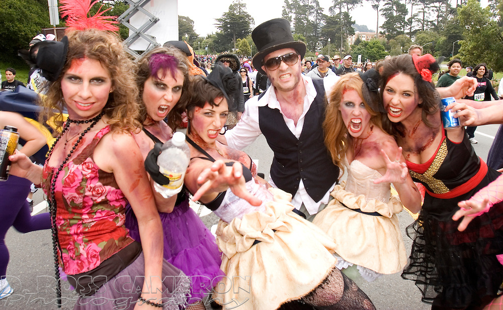 """A group of San Franciscans billing themselves as """"burlesque zombies"""" strike a pose while passing through Golden Gate Park at the 99th running of the Bay to Breakers 12K race, Sunday, May 16, 2010 in San Francisco. (Photo by D. Ross Cameron)"""