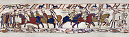 11th Century Medieval Bayeux Tapestry - Scene 52 - Death of Harold brothers, Lewine and Gyrd. Battle of Hastings 1066 .<br /> <br /> If you prefer you can also buy from our ALAMY PHOTO LIBRARY  Collection visit : https://www.alamy.com/portfolio/paul-williams-funkystock/bayeux-tapestry-medieval-art.html  if you know the scene number you want enter BXY followed bt the scene no into the SEARCH WITHIN GALLERY box  i.e BYX 22 for scene 22)<br /> <br />  Visit our MEDIEVAL ART PHOTO COLLECTIONS for more   photos  to download or buy as prints https://funkystock.photoshelter.com/gallery-collection/Medieval-Middle-Ages-Art-Artefacts-Antiquities-Pictures-Images-of/C0000YpKXiAHnG2k