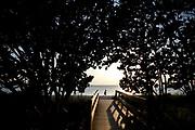 William DeShazer/Staff<br /> A woman makes her way up the beach at Bonita Beach Park on Thursday Oct. 11, 2012.