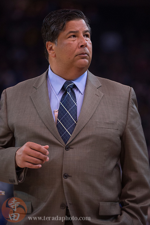 November 17, 2015; Oakland, CA, USA; Toronto Raptors manager of team security John Altilia during the second quarter against the Golden State Warriors at Oracle Arena. The Warriors defeated the Raptors 115-110.